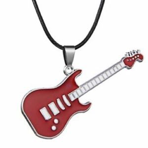 NEW! 🎸 UNISEX RED STAINLESS STEEL GUITAR NECKLACE